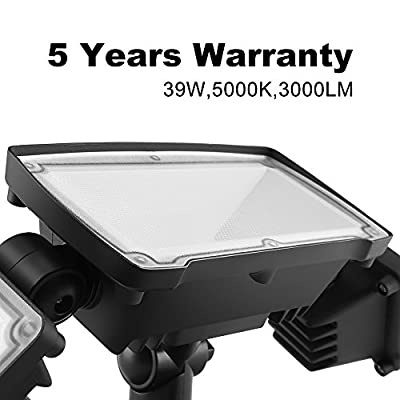 30W LED Security Lights Motion Outdoor 2550 Lumen 5000K BBOUNDER Motion Sensor Outdoor Lights Waterproof IP65 ETL Certificated 2-Head Adjustable Flood Light for Entryways Stairs Yard and Garage 1Pack