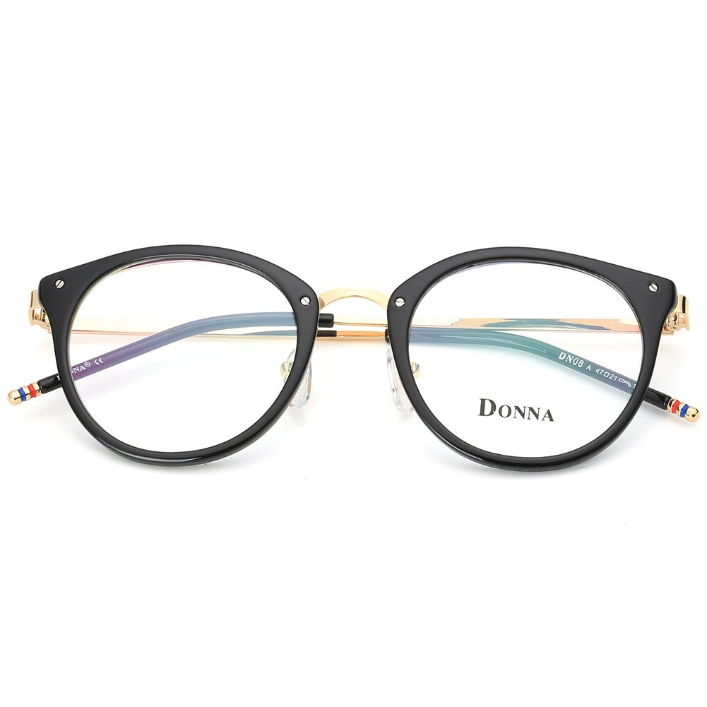 6e6978855e Amazon.com  DONNA Stylish Clear Lens Glasses Samll Circle Frame Blue Light  Blocking for Computer DN08-A  Clothing