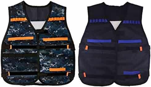 EKIND 2 Kids Elite Tactical Vest for EVA Nerf Gun N-strike Elite Series(Black & Camouflage)