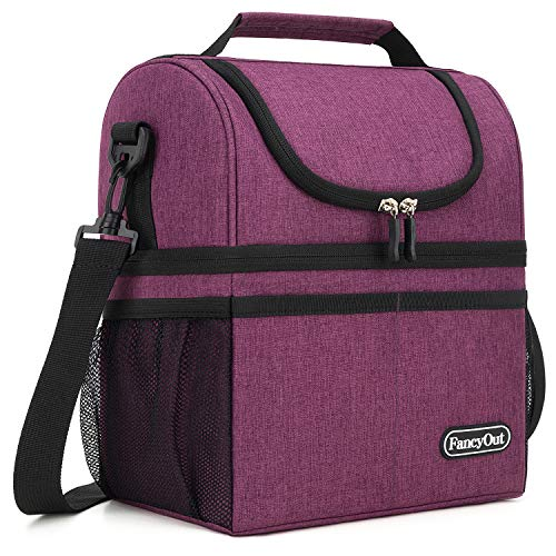- Insulated Lunch Bag with Dual Compartment, Leak Proof Liner Cooler Bag with Adjustable Shoulder Strap, Water-Resistant Lunch Box for Office/Picnic/Hiking/Beach (Style A-Purple)