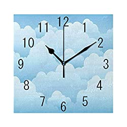 MTDKX Square Wall Clock Battery Operated Quartz Analog Quiet Desk 8 Inch Clock, Digital Design Consecutive Segments Lamellar Look of Cumulus Cloud Pattern