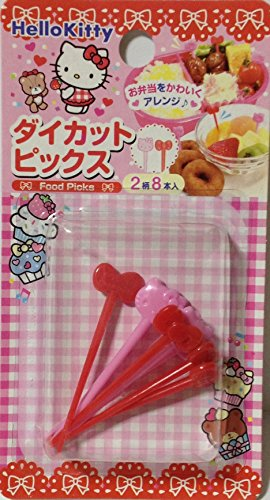 (Sanrio Hello Kitty Food Fruit Cocktail Picks 2 patterns 8pics Bento Party)