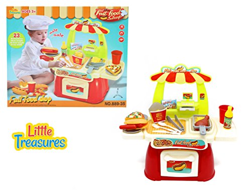 Food City (Baby Sized Fast Food Shop - Easy food play set for 3+ kids 23pcs included City food stand with cash register & drawer, fries, pizza slice, drumstick, sausage burger, ice cream box and drink)