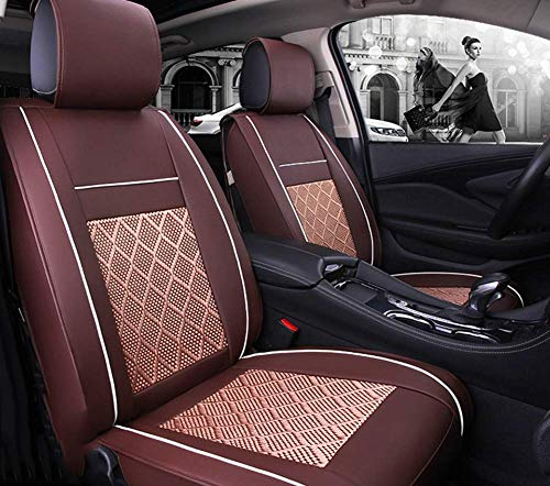 AYCYNI Easy To Clean Ice Silk Car Seat Cushion 5 Seats Full Set - Non-Slip Suede Backing Universal Fit Adjustable Bench For 99% Type Of Car,Brown,Brown: Kitchen & Home