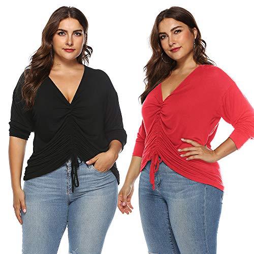 V Chemisier Top Tops Blouse Femmes Rouge Grande Taille Femme Taille Neck Automne RGlable VJGOAL Top Noir Plus Manches Longues 0f66wzq