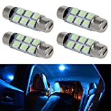 Partsam 4pcs Ice Blue 6-5050-SMD LED Bulbs 44mm Festoon Cap Lamps Car Interior Dome Map Reading Lights for Chevrolet Dodge Ford GMC etc. - (561 562 564 570 571 577 578 211-2 212-2 214-2 Bulbs)