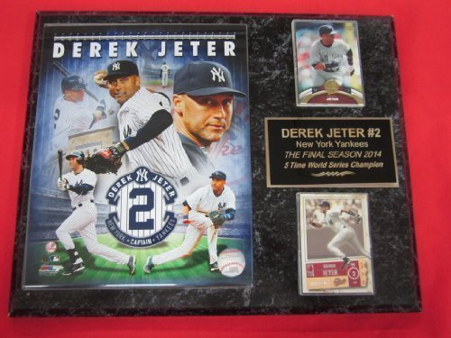 Yankees Derek Jeter 2 Card Collector Plaque w/ 8x10 FINAL SEASON Commemorative Photo