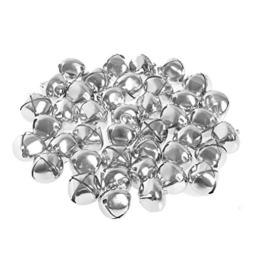Pengxiaomei 1 Inch Craft Bells, Silver Jingle Bells Bulk for Christmas Festival Decorations (40 Pcs)
