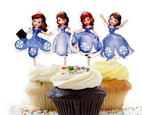Princess Sofia Decorative Cupcake Toppers Party Pack for 24 Cupcakes