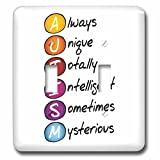 3dRose Sven Herkenrath Funny - Autism Day Healthy Quotes with White Background Care and Medical - Light Switch Covers - double toggle switch (lsp_264595_2)