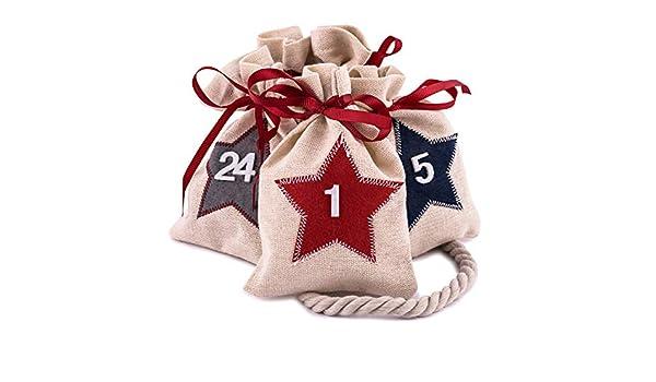 7191b8245 Pajoma 24 Bolsas de Yute numeradas con Estrellas para Calendario de Adviento,  Colgar y Rellenar en Navidad: Amazon.es: Hogar