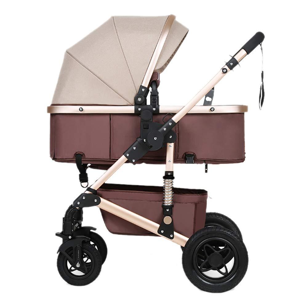 Mariny 赤ちゃんのベビーカー、折りたたみ軽量ショックアブソーバの子供は、赤ちゃんのキャリッジ高炭素鋼フレーム幼児トロリー座ったり、嘘をプッシュ (色 : ブラウン ぶらうん)   B07R7N17GR