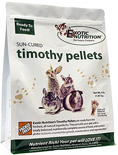 Exotic Nutrition Timothy Pellets 4 lb. - Supplemental Food - for Rabbits, Guinea Pigs, and Other Grass Feeding Pets ()