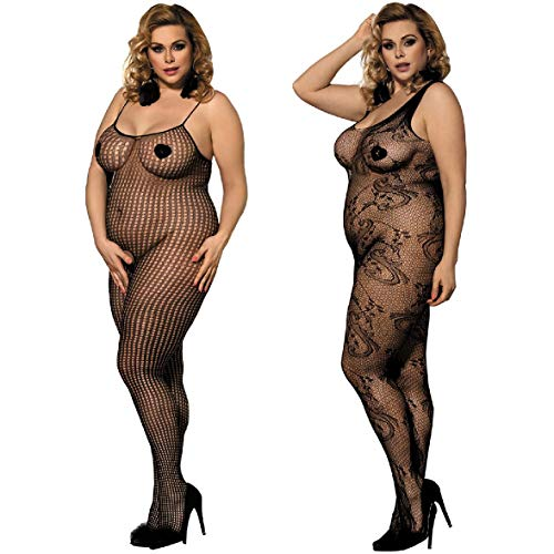 LOVELYBOBO 2 Pack Womens Plus Size Fishnet Bodystockings Striped Lingerie Crotchless Bodysuits Tights Suspenders Black ()