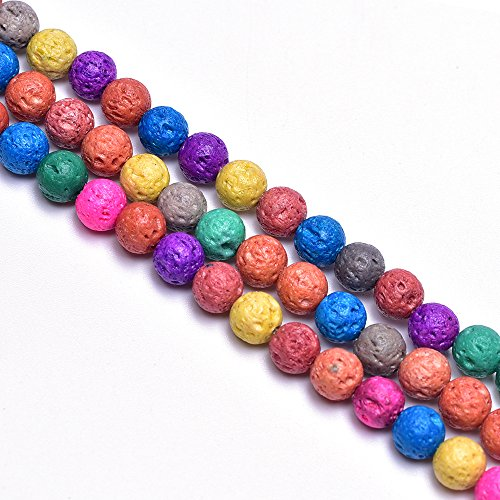 6mm Colorful Lava Rock Stone Beads for Jewelry Making Energy Power Gemstone Beads Essiential Oil Difusser Beads for DIY Bracelets(Approx.60pcs/Strand)