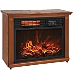 Large Room Infrared Quartz Electric Fireplace Heater Honey Oak Finish w/ Remote by Tamsun from Tamsun