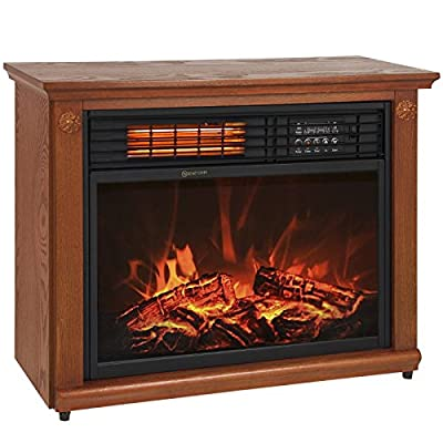 Large Room Infrared Quartz Electric Fireplace Heater Honey Oak Finish w/ Remote by Tamsun