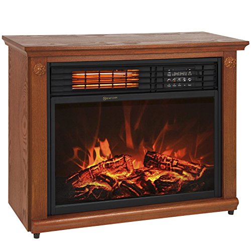 Best Buy Large Room Infrared Quartz Electric Fireplace Heater Honey Oak Finish w/ Remote by Tamsun Reviews