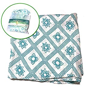 Muslin Baby Swaddle Blanket Blue Snowflake Print Baby Shower Gifts, Luxurious, Soft and Silky, 70% Bamboo 30% Cotton 47x47inch (1pack), Baby boy or Baby Girl Nursing Cover, wrap, Burp Cloth