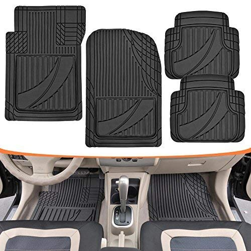 Motor Trend MT-794-BK FlexTough Advanced Performance Mats - 4pc HD Rubber Floor Mats for Car SUV Auto All Weather Plus (Black) (2006 Toyota Highlander Floor Mats All Weather)