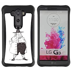 LASTONE PHONE CASE / Suave Silicona Caso Carcasa de Caucho Funda para LG G3 / Man History Fashion Pencil Drawing Art Big