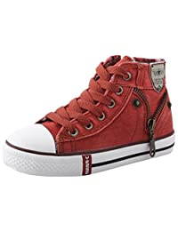 PPXID Boy's Girl's High-top Canvas Lace up Casual Board Shoes