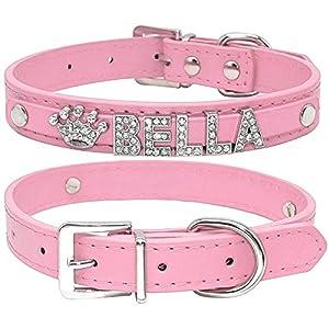 Collar de perro de Berry, de piel sintética, suave, letras y abalorios con cristales de imitación, para perros pequeños…