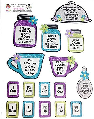 Kitchen Conversion Chart Stickers - Restickable, Reusable, Decals