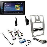 Silver Double DIN Car Radio Dash Panel Trim Installation Kit for 2005-2007 Chrysler 300