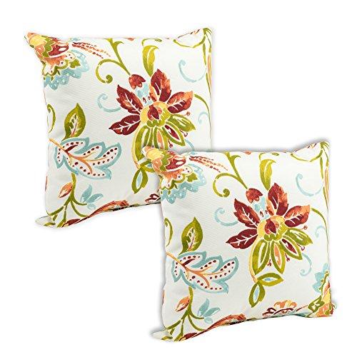 Jordana Jubilee Large Floral Print 16 x 16 Indoor Outdoor Throw Pillow - Pack of 2
