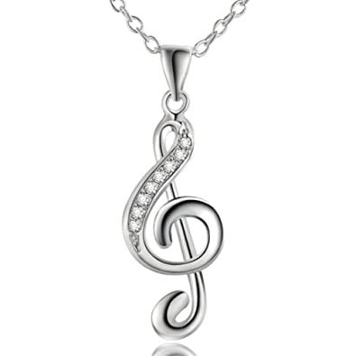 Jewellery Treble Clef Necklace Silver Plated Music Note Pendant Necklace For Women 18 Inch omFM6KhG4