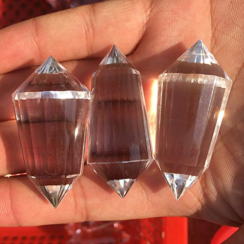 DingSheng Natural Clear Quartz 12 Sided Or 24 Sided Phantom Crystal Wand Point Vogel Wand Inspired Spiritual Reiki Healing and Free Pouch (2inches 24 Sided Quartz Wand)