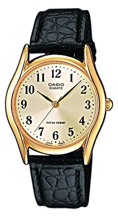 Wristwatch Mens Casio Mtp-1154Pq-7B2Ef Leather Vintage Quartz Gold