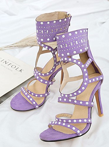 de las de con y con aguja altas sandalias cremallera Gladiador estilo mujeres de con Aisun púrpura remache tacón qUwt7Rt