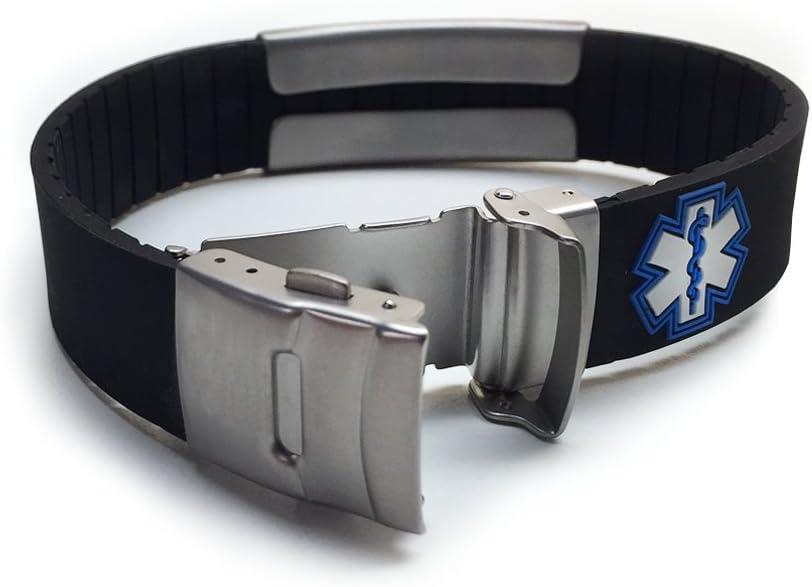 Silicone Sport Medical Alert ID Bracelet - Black