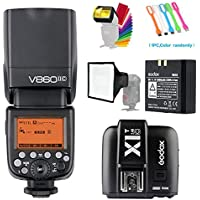 Godox V860II-C E-TTL HSS 1/8000s 2.4G GN60 Li-ion Battery Camera Flash speedlite light & X1C Wireless Remote Trigger Transmitter for Canon EOS Camera +15x20cm softbox & Filter +USB LED Free gift