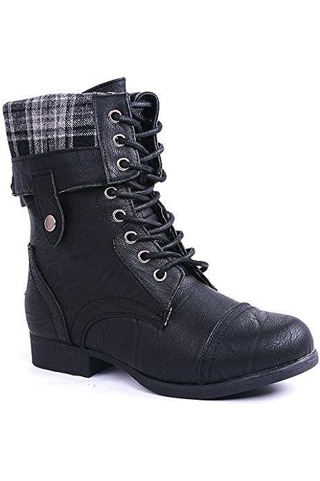 | J.J.F Shoes Women Military Combat Foldable Cuff