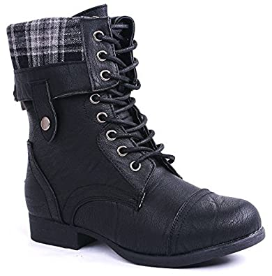 f720c31577c36 JJF Shoes Women Military Combat Foldable Cuff Faux Leather Plaid/Quilted  Back Zipper Lace Up Boots