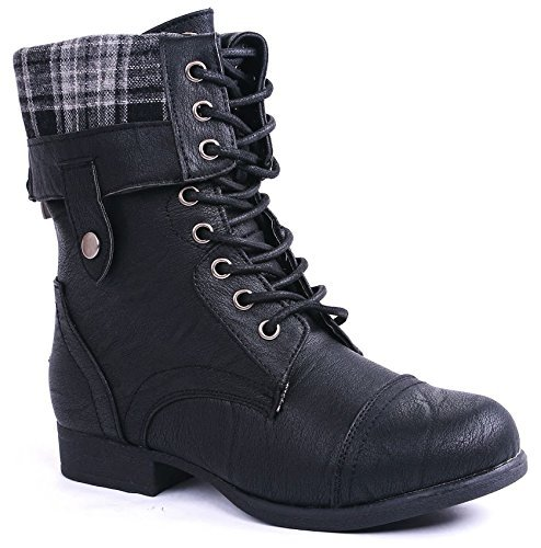 JJF Shoes Rice69 Black Plaid Military Combat Foldable Cuff P-Leather Zipper Lace Up Boots-8 ()