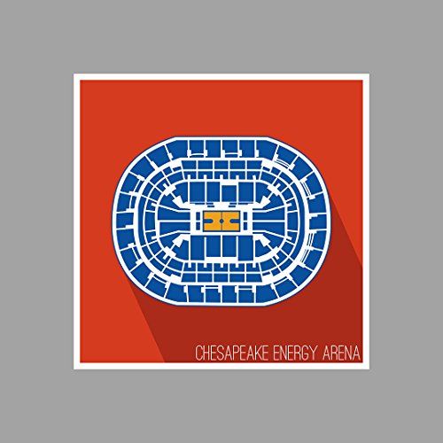 Oklahoma City   Chesapeake Energy Arena   Basketball Seating Map   12X12 Matte Poster Print Wall Art