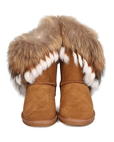 CAPE ROBBIN Women Genuine Suede and Fur Boot - Winter, Cozy, Casual - Authentic Fox and Rabbit Fur Flat Bootie - GD19 by Camel