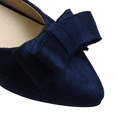 VogueZone009 Women's Frosted Low-Heels Closed-Toe Solid Pull-On Pumps-Shoes Blue taMCRvStQ