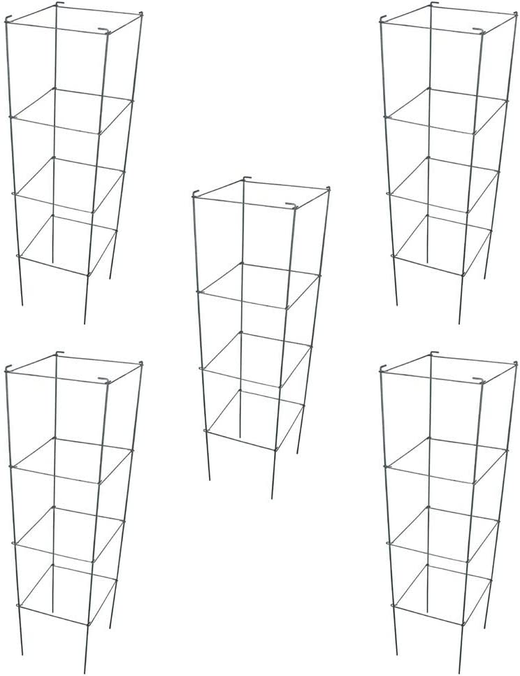 MTB Galvanized Square Folding Tomato Cage Plant Support Stake Tower 12 inch by 46 inch, Pack of 5 Sets(Also Sold as Pack of 2 & 10,PVC Green is Available)