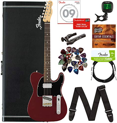 Fender American Performer Telecaster Humbucker, Rosewood - Aubergine Bundle with Gig Bag, Hard Case, Cable, Tuner, Strap, Strings, Picks, Capo, and Austin Bazaar Instructional DVD
