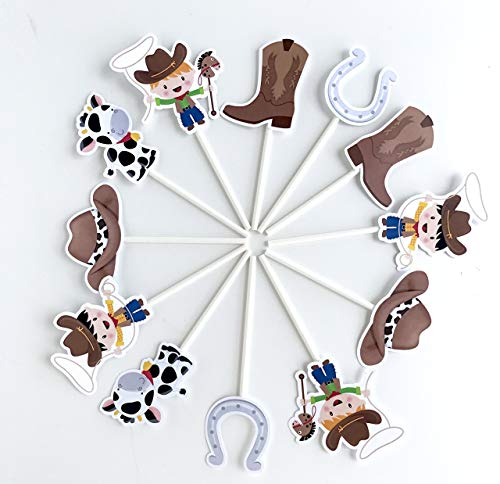 Cowboy Cupcake Toppers 12 pcs - Cake Picks Birthday Decoration Party Supplies, Western Baby Shower Themed]()