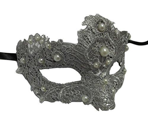 MGPS Silver Pearl Macrame Brocade Lace Venetian Masquerade Mardi Gras (Venetian Mask With Pearl)