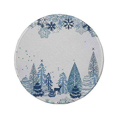 Non-Slip Rubber Round Mouse Pad,Winter,Winter Scene with Deer Frozen Trees and Snow Christmas Season Pine Trees Bushes Decorative,Blue White,7.87