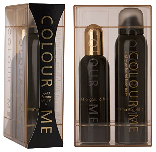 Colour Me | Femme Gold | Eau de Toilette and Body Spray | Perfume 2 Piece Gift Set | Womens Fragrance | Oriental Fruity Scent | EDT Spray - 3.4 oz /  Body Spray - 5.1 oz ()