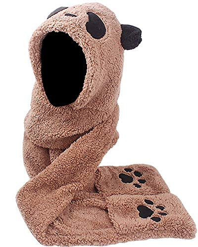 Womens Winter Warm Thick 3 in 1 Plush Panda Paws Hat Hoods Gloves Scarf