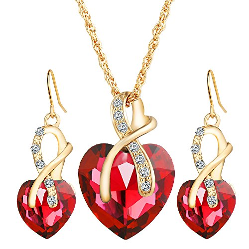 Women Fashion Bride Sets Pendant Necklace And Elegant Earrings Red - 9